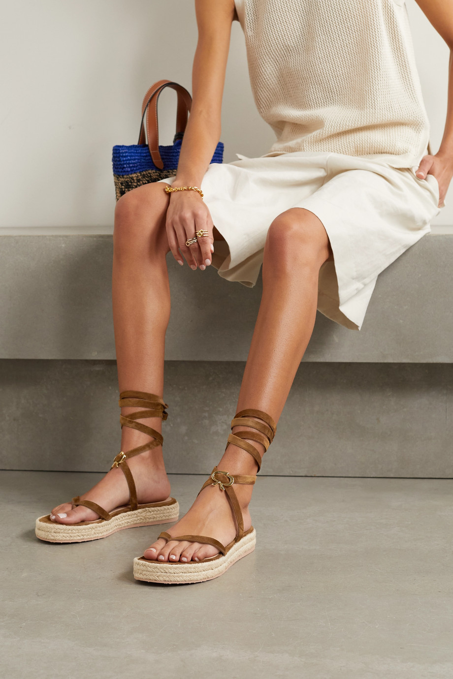 Gianvito Rossi Ribbon Beachclub 20 embellished suede espadrille sandals