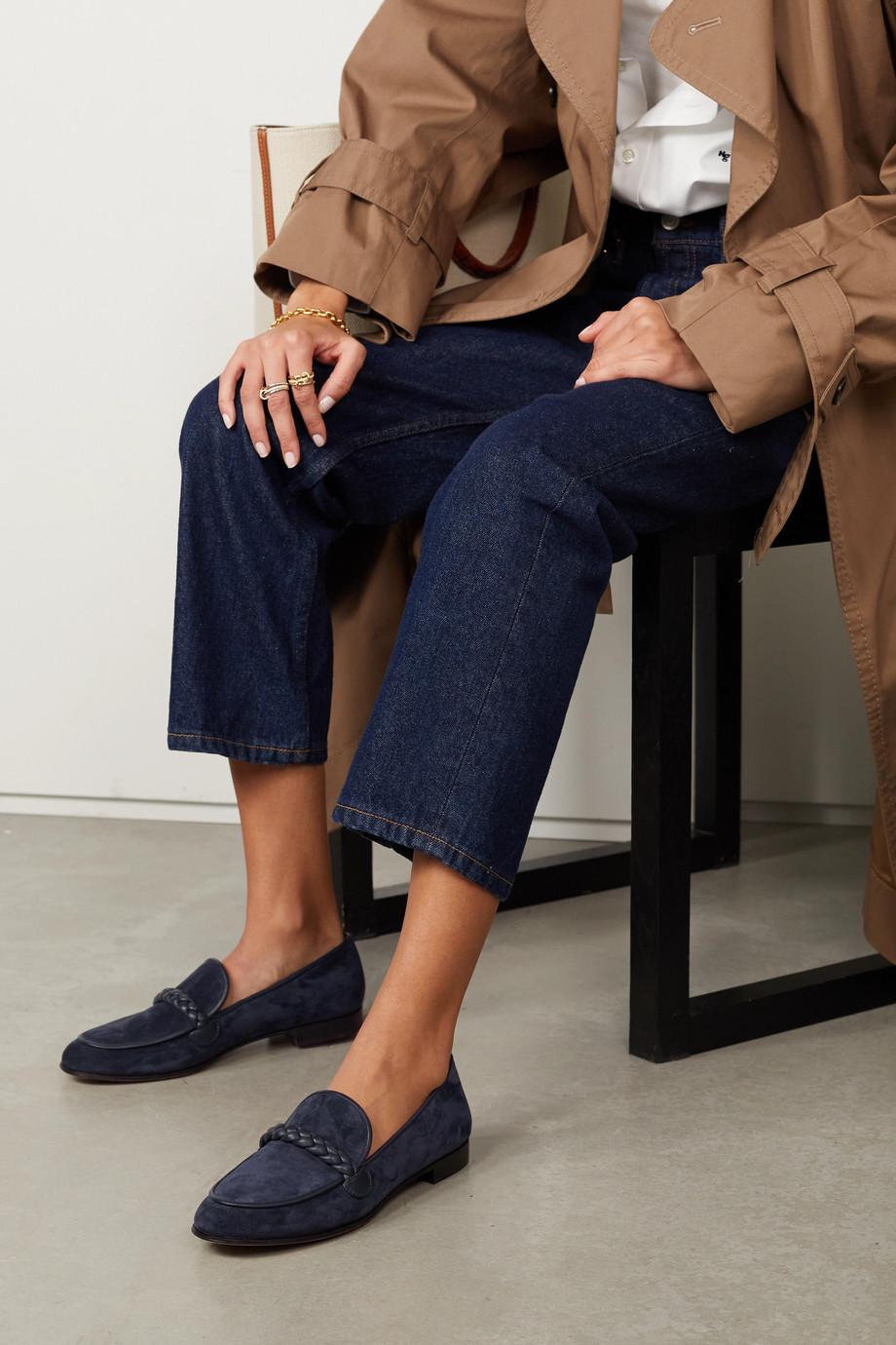 Gianvito Rossi Belem 15 Loafers aus Veloursleder mit Lederbesätzen