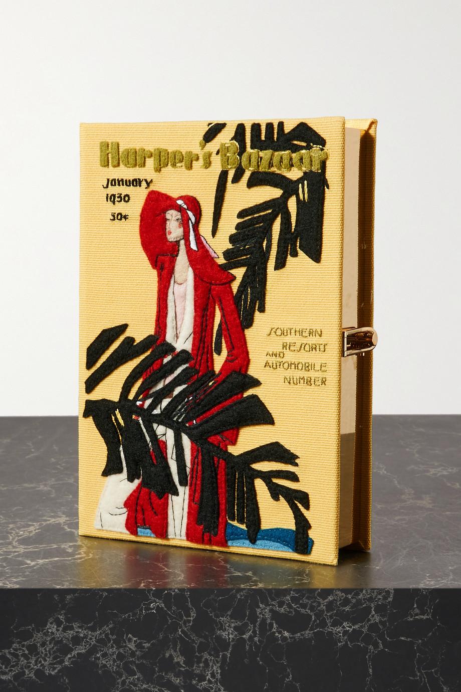 Olympia Le-Tan Pochette en toile à appliqués et à broderies Harper's Bazaar