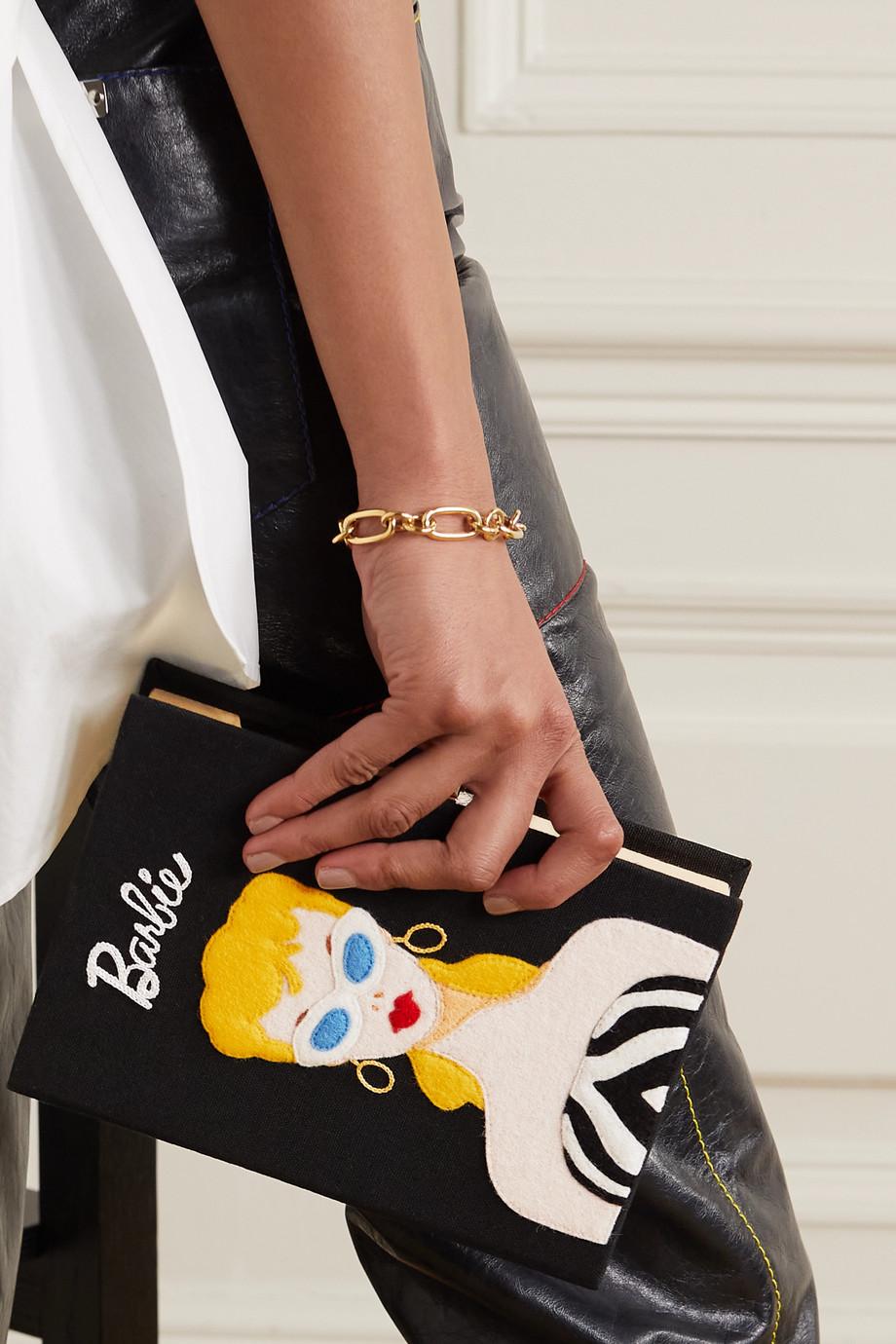 Olympia Le-Tan + Barbie embroidered appliquéd canvas clutch