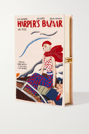 Olympia Le-Tan Harper's Bazaar embroidered appliquéd canvas clutch