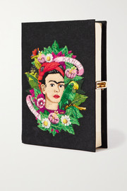 Olympia Le-Tan Frida Kahlo embroidered appliquéd canvas clutch