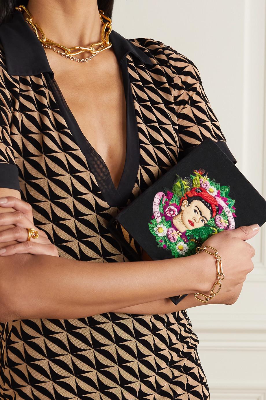 Olympia Le-Tan Frida Kahlo embroidered appliquéd canvas clutch