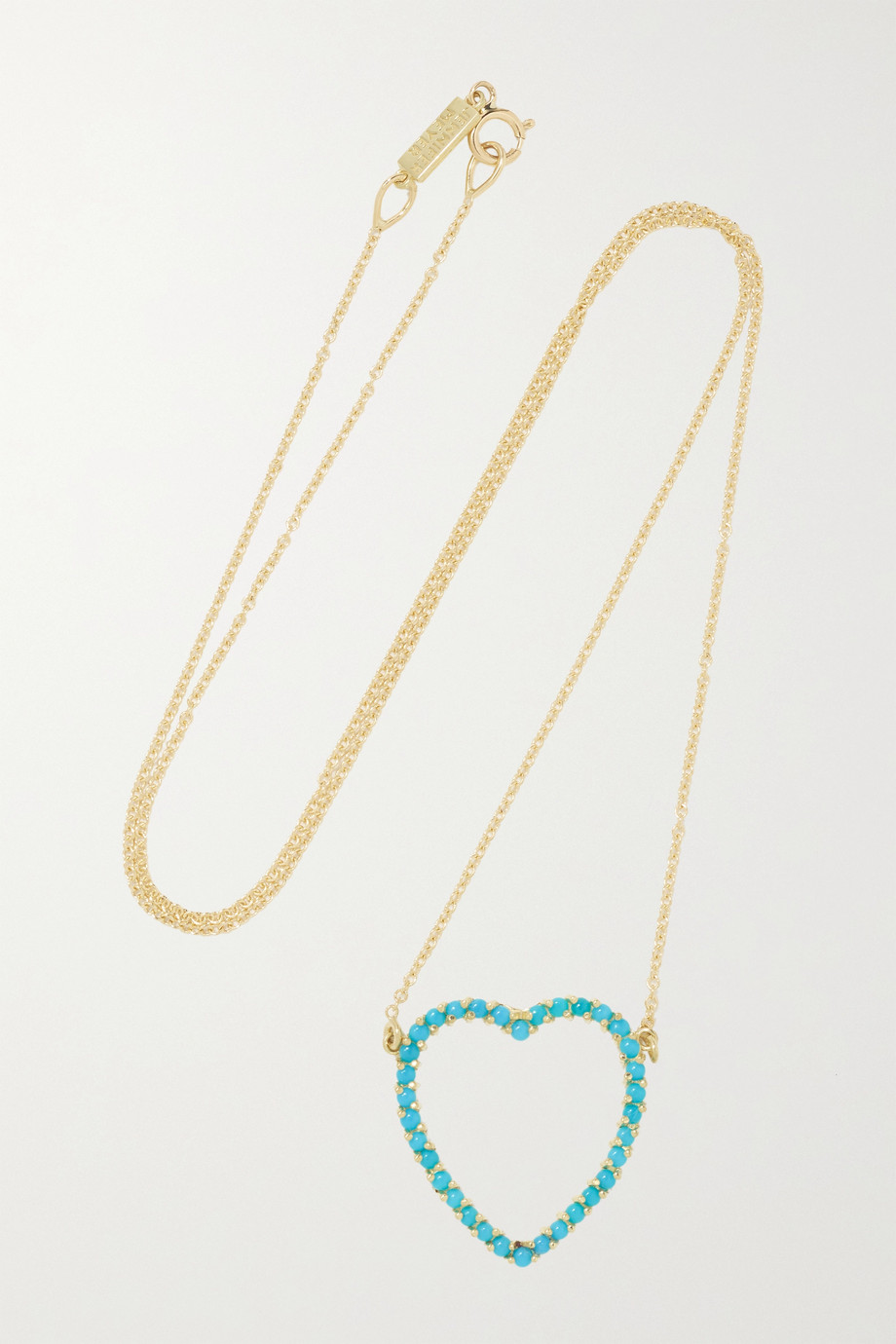 Jennifer Meyer Large Open Heart 18-karat gold turquoise necklace