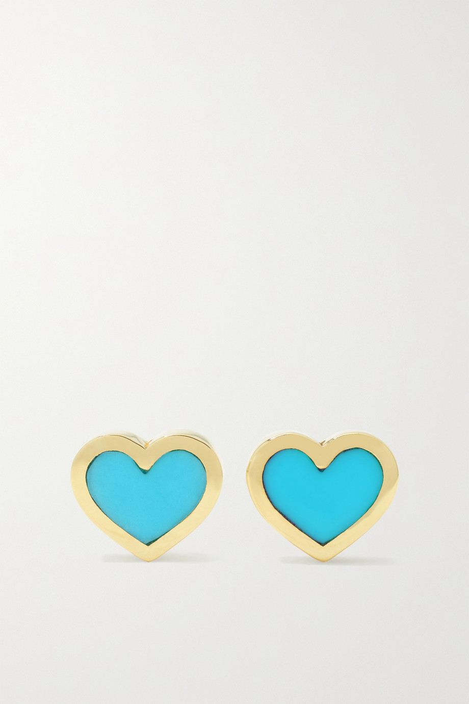 Jennifer Meyer Extra small Heart 18-karat gold turquoise earrings