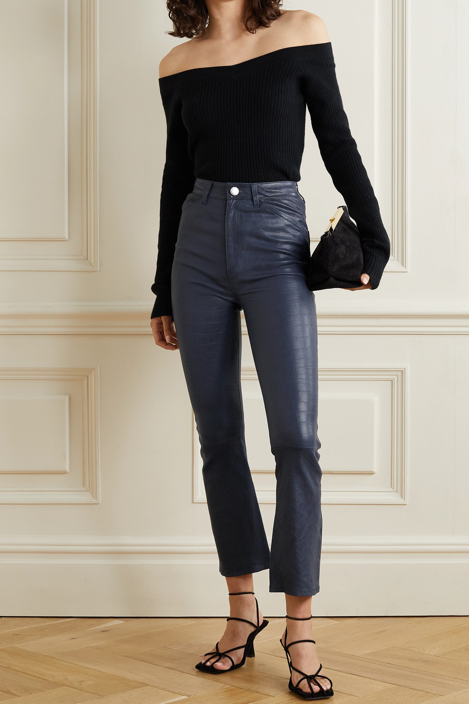SPRWMN Cropped croc-effect leather flared pants