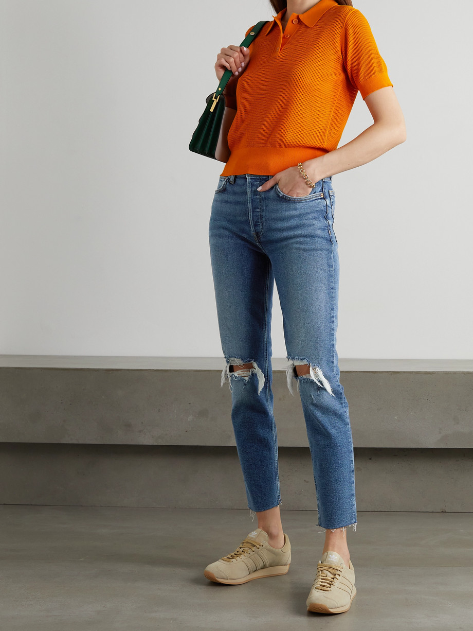 RE/DONE 90s Comfort Stretch High-Rise Ankle Crop distressed skinny jeans