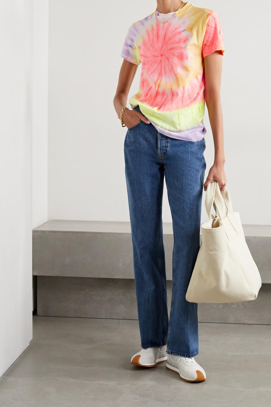 RE/DONE + Hanes 70s T-Shirt aus Baumwoll-Jersey mit Batikmuster