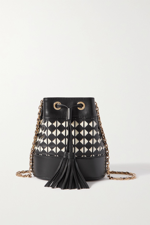 Serapian - Mini woven leather bucket bag