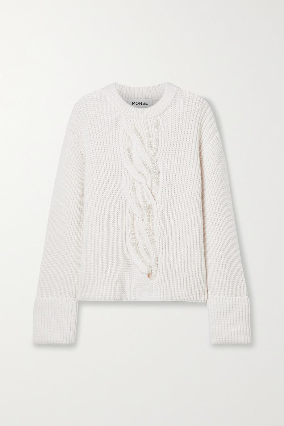 Monse Pull en laine mérinos à mailles torsadées et à perles synthétiques
