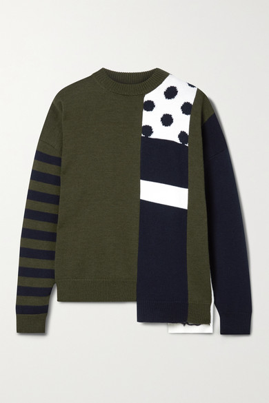 Monse PATCHWORK INTARSIA MERINO WOOL SWEATER