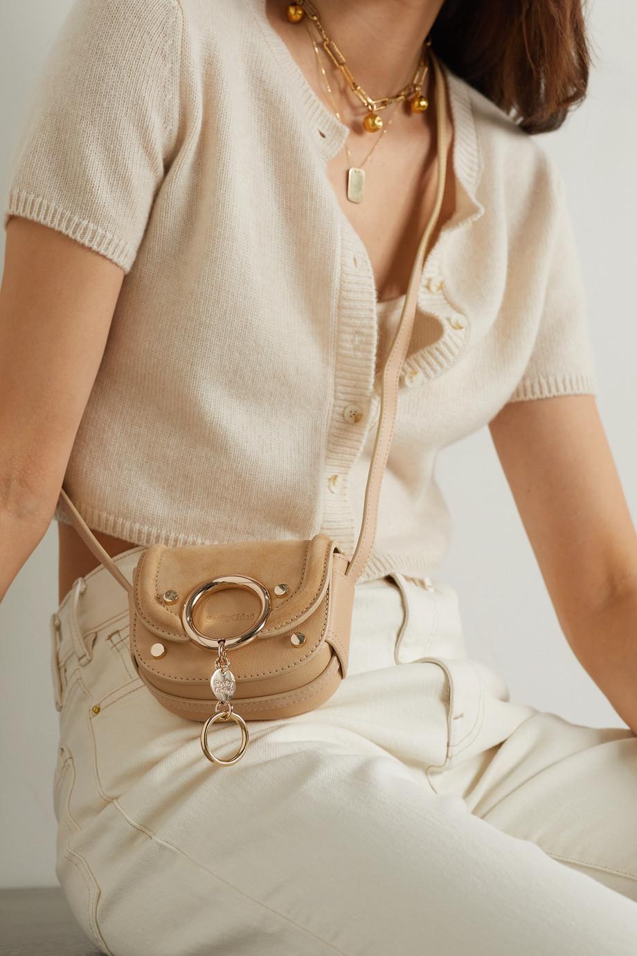 See By Chloé Sac porté épaule en daim et en cuir texturé à ornements Mara Mini