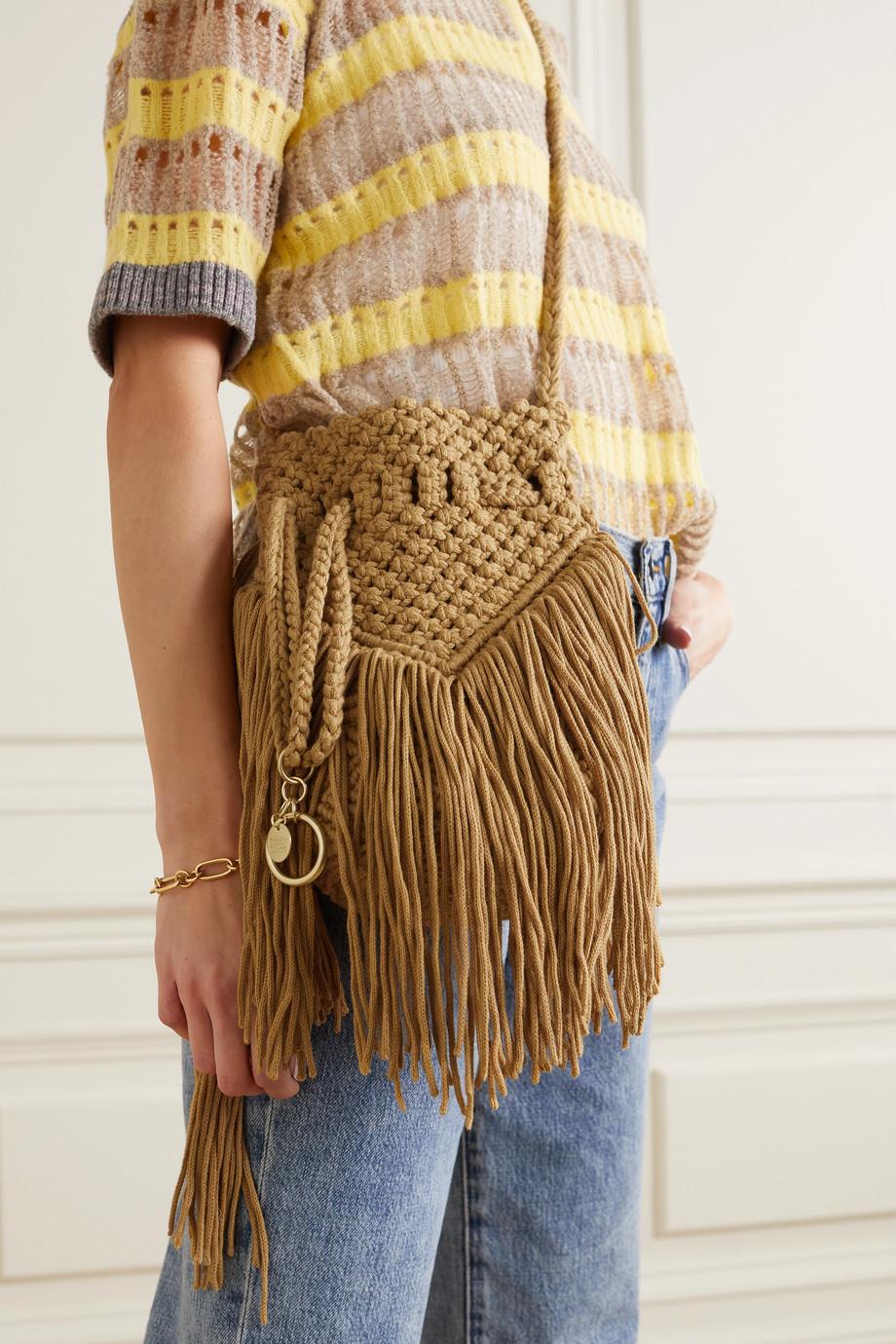 See By Chloé Sac seau en coton crocheté à franges Roby