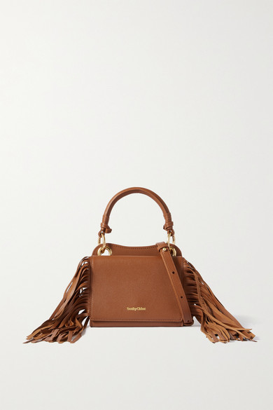 See By Chloé Leathers TILDA FRINGED TEXTURED-LEATHER TOTE