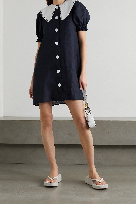Sleeper Marie lace-trimmed linen mini dress