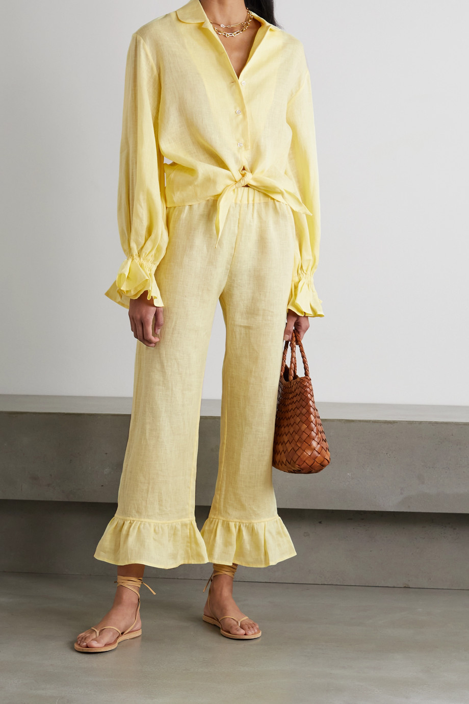 Sleeper Rumba ruffled linen shirt and pants set