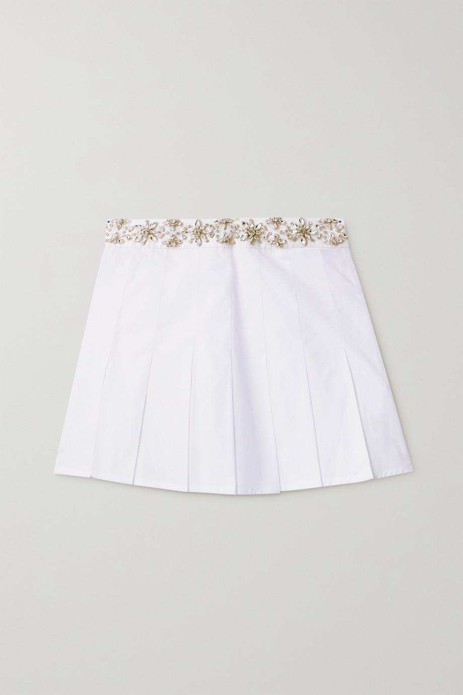 Retrofête Mini-jupe en popeline de coton à plis et à cristaux Athena