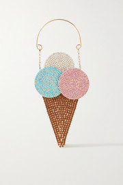 Rosantica Gelato crystal-embellished gold-tone and twill tote