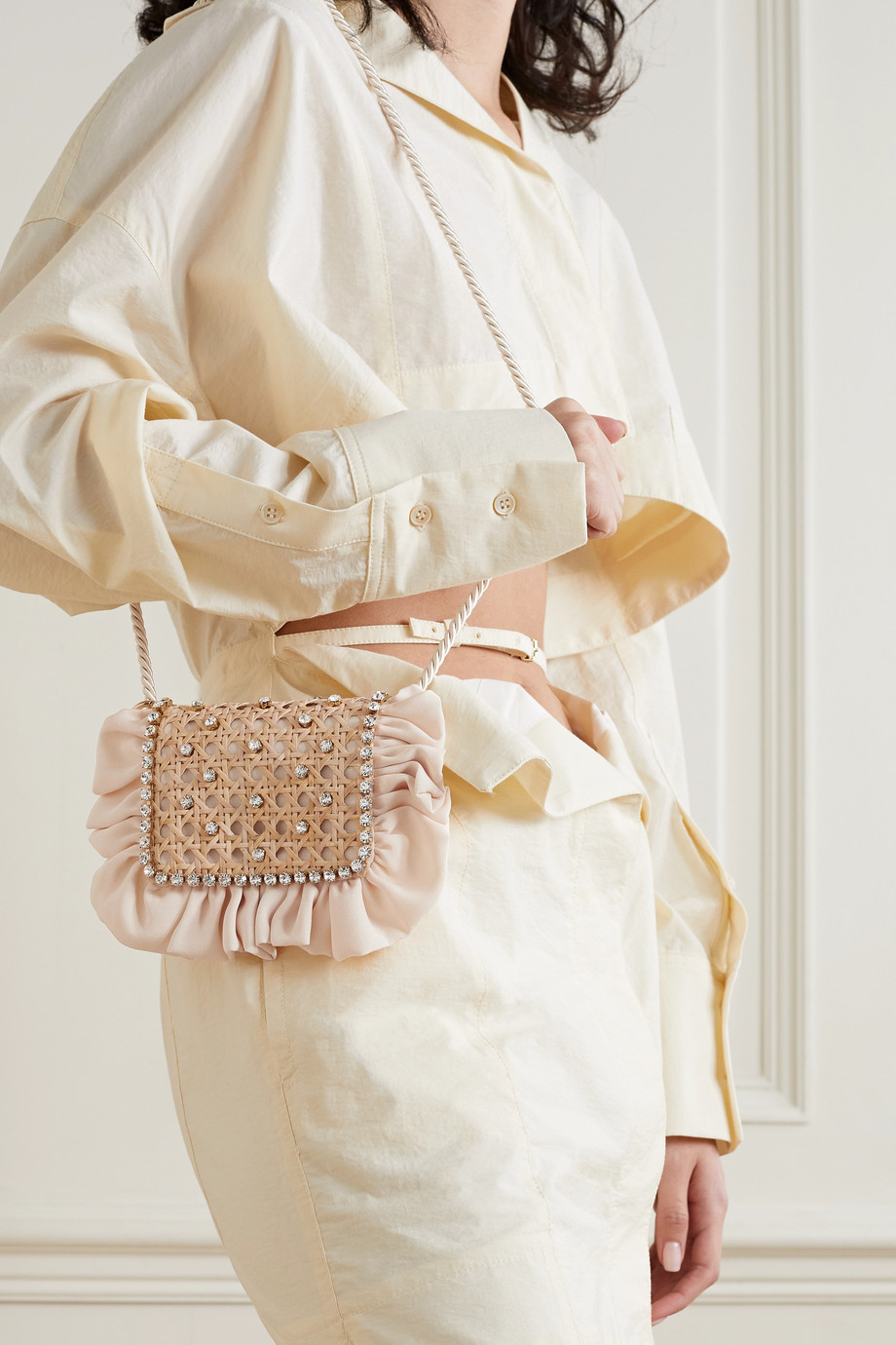 Rosantica Panino crystal-embellished wicker and twill shoulder bag