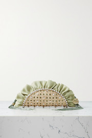 Rosantica Taco mini fringed crystal-embellished wicker and twill clutch