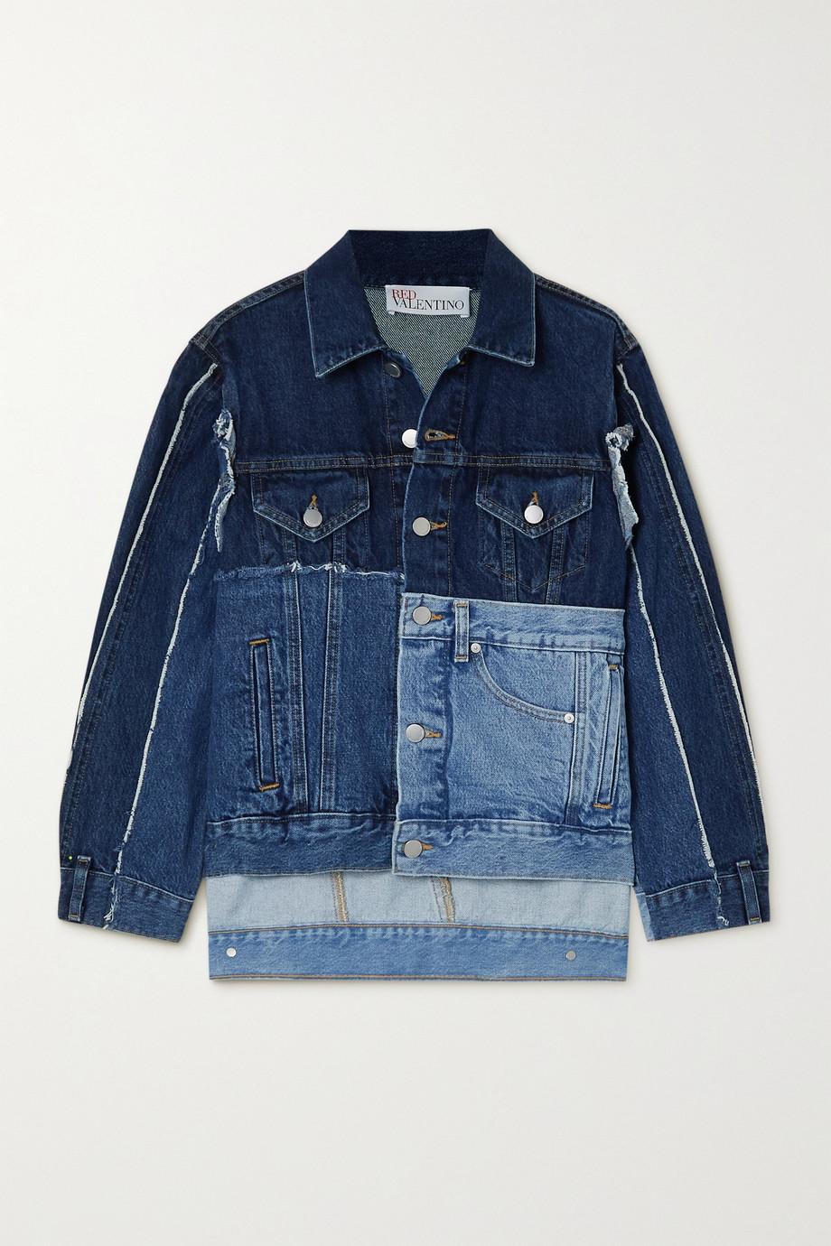 REDValentino Frayed patchwork denim jacket