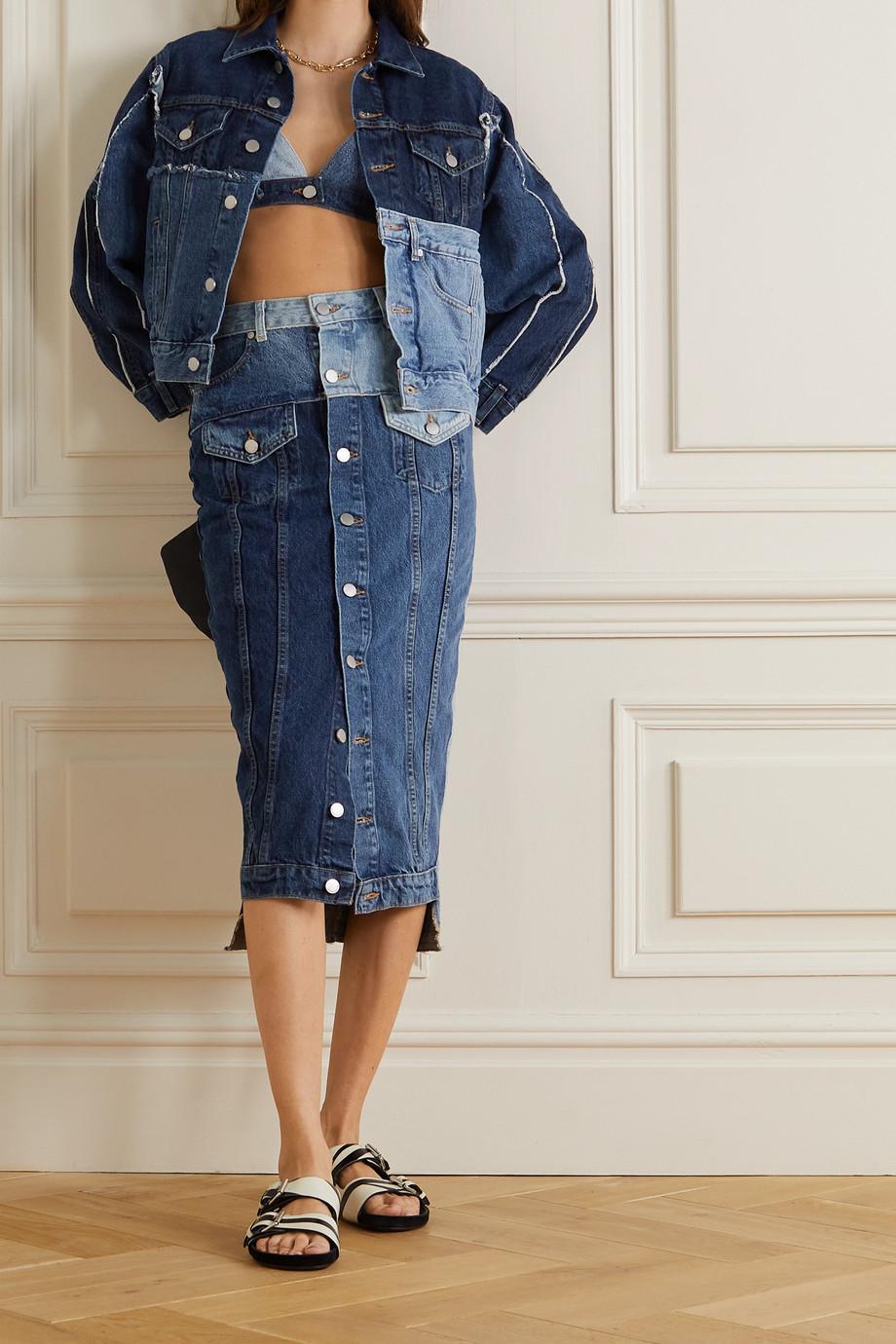 REDValentino Frayed patchwork denim midi skirt