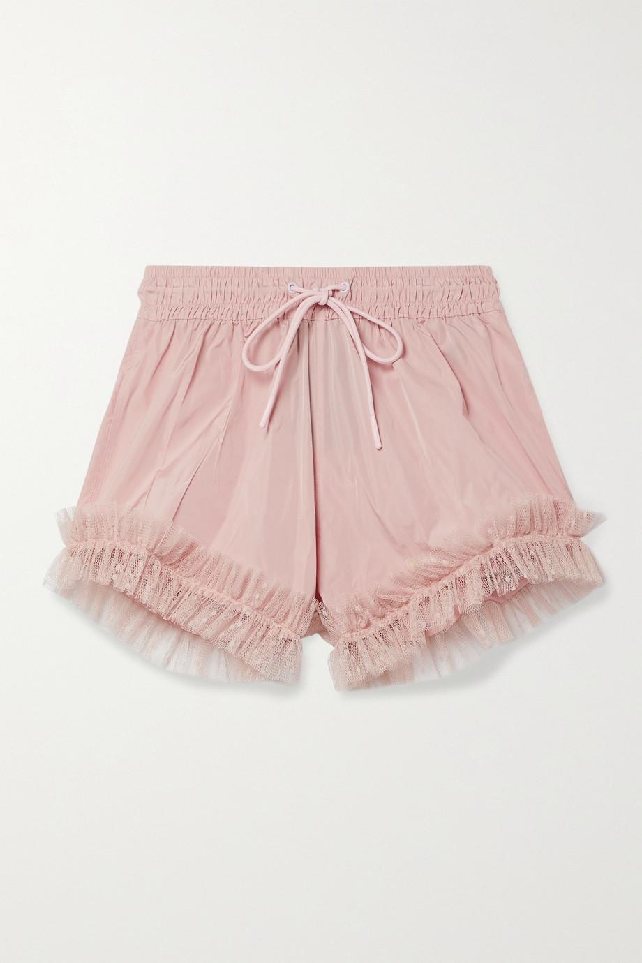 REDValentino Ruffled point d'esprit tulle-trimmed taffeta shorts