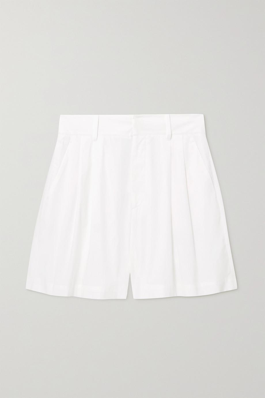 REDValentino Pleated stretch-cotton poplin shorts
