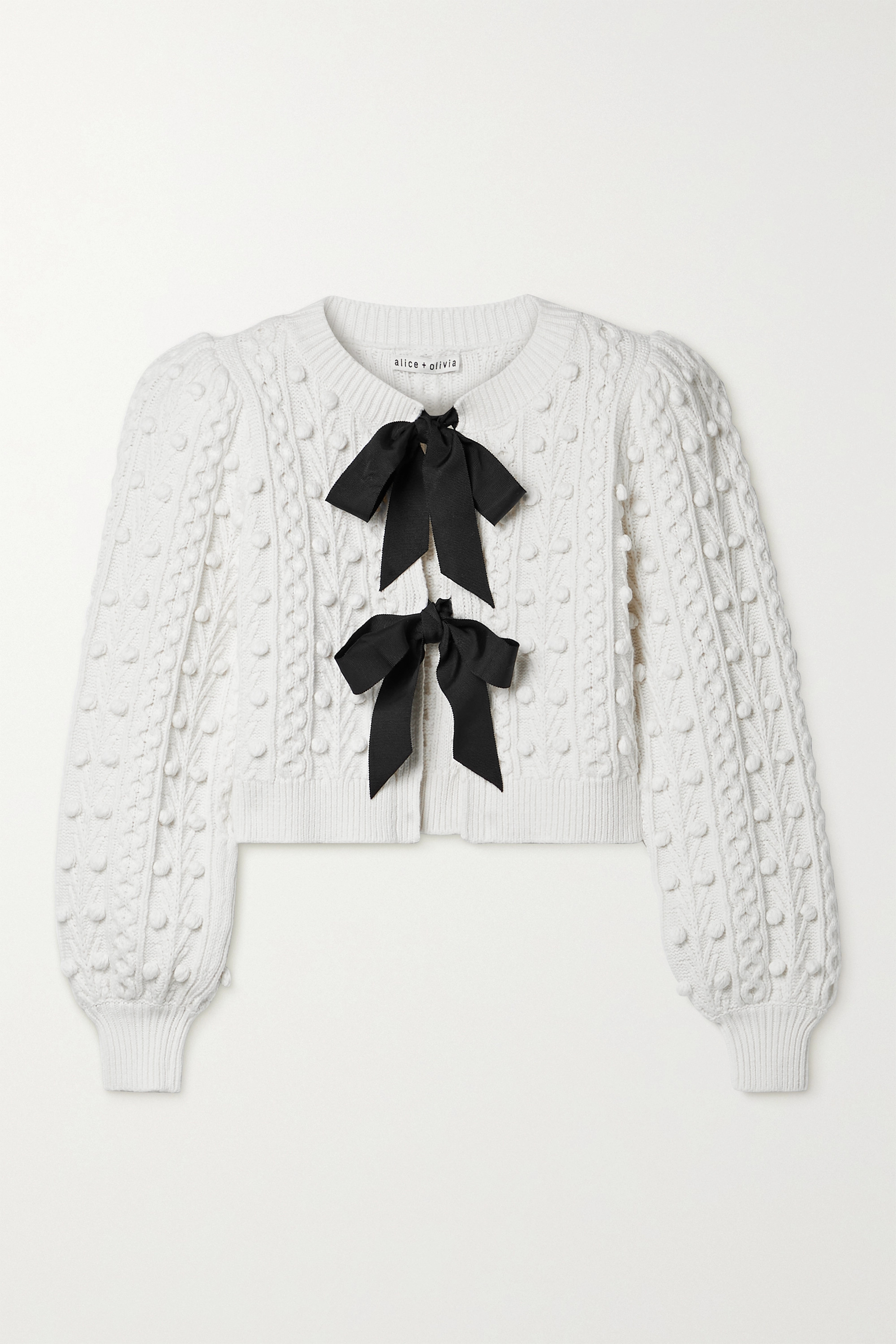 Alice + Olivia Kitty grosgrain-trimmed cable-knit cardigan