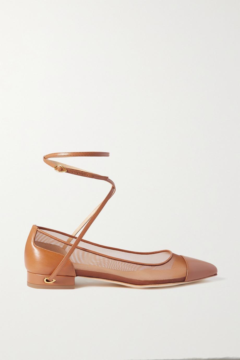 Jennifer Chamandi Lorenzo 20 flache Schuhe mit spitzer Kappe aus Leder und Mesh