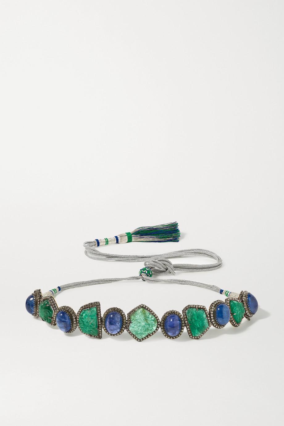 Amrapali Convertible sterling silver and 18-karat gold multi-stone bracelet