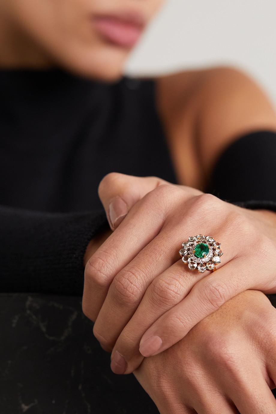 Amrapali 18-karat gold, diamond and emerald ring