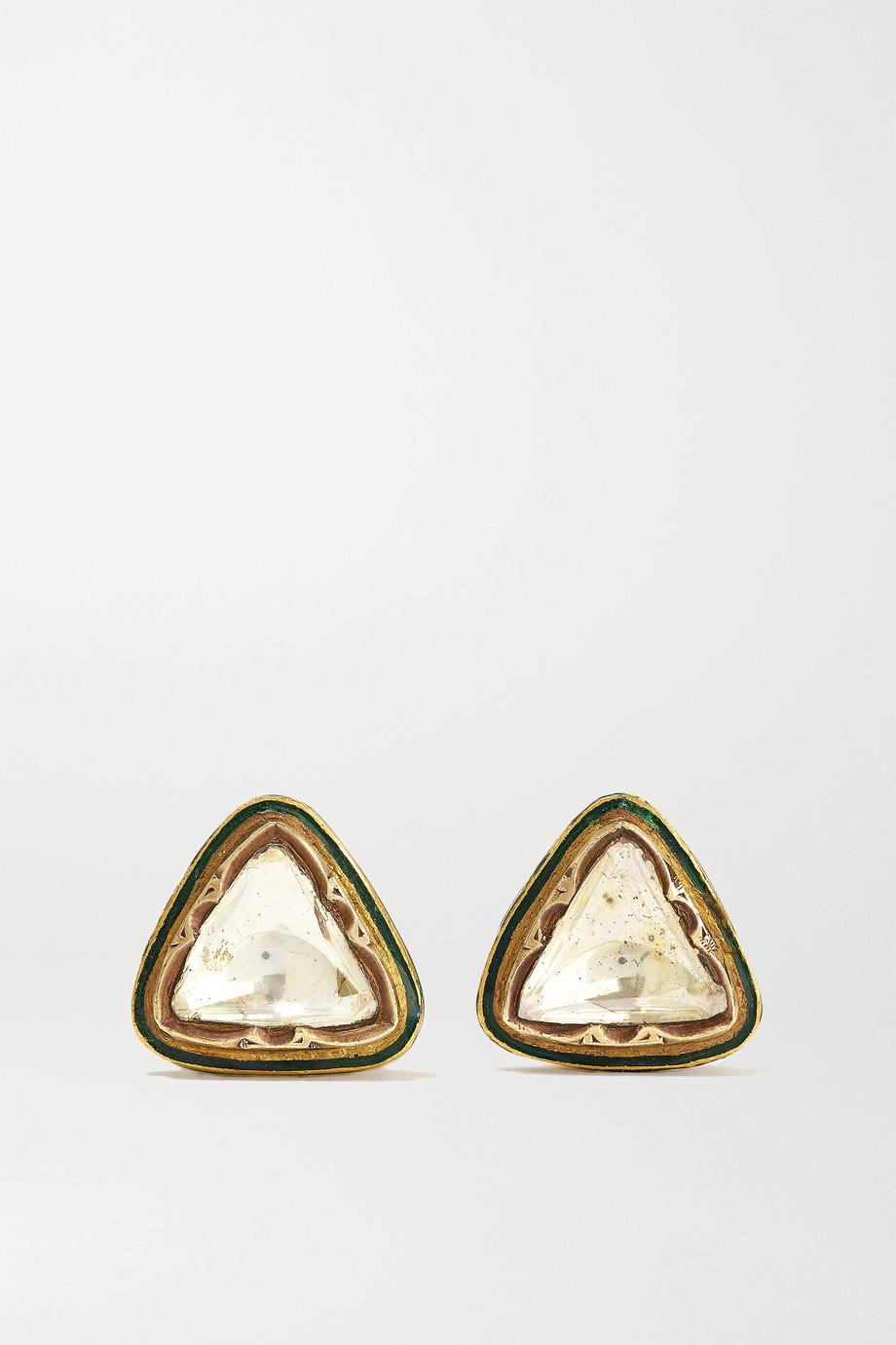 Amrapali Sterling silver and 18-karat gold diamond earrings