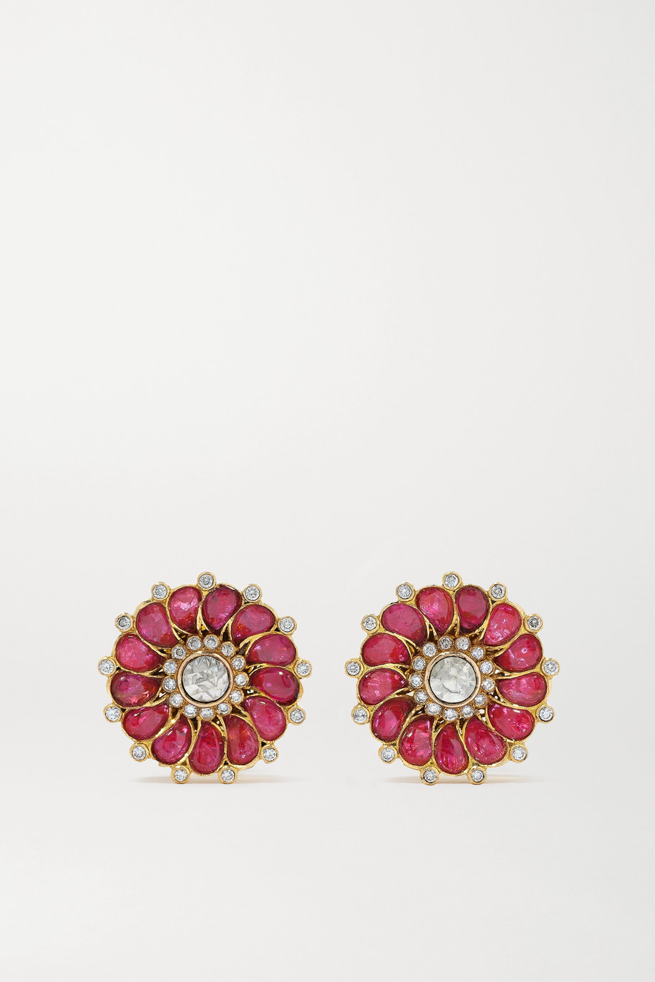 Amrapali 18-karat gold, ruby and diamond earrings