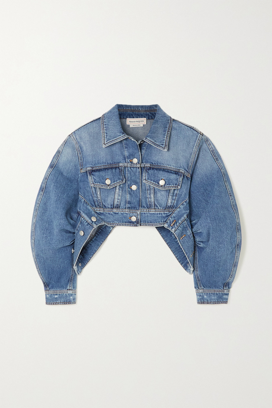 Alexander McQueen Cropped asymmetric denim jacket
