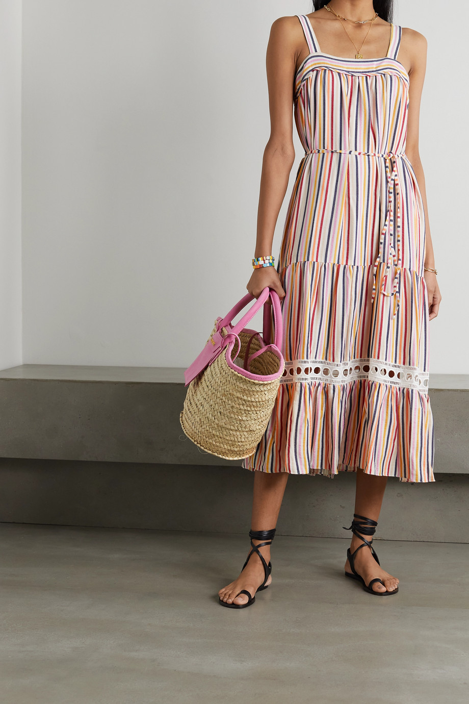 LemLem + NET SUSTAIN Anika belted tiered striped voile midi dress