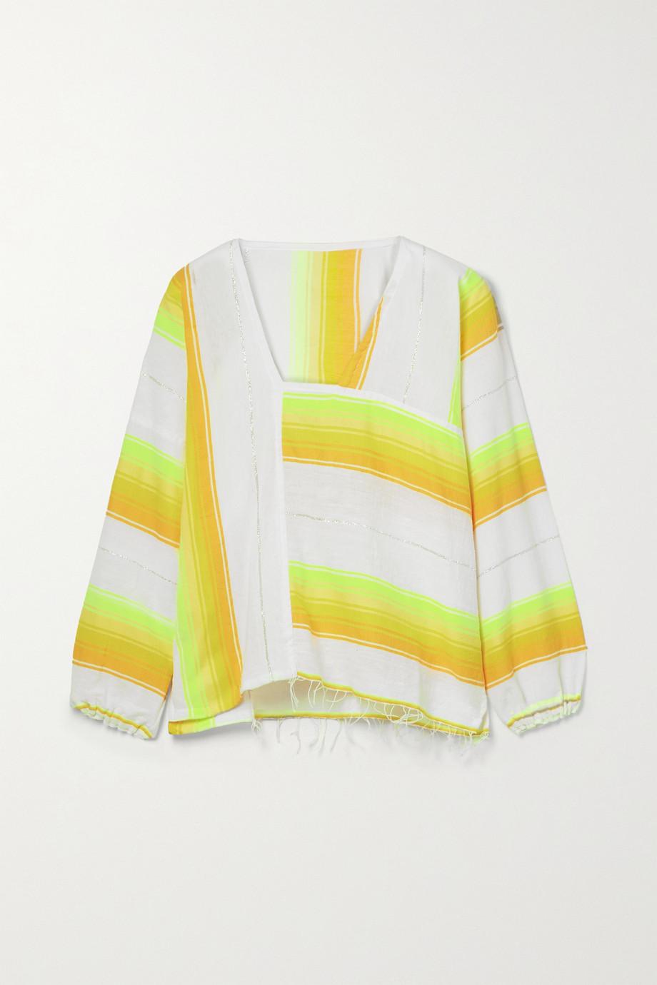 LemLem Mazaa Bluse aus Gaze aus einer Baumwollmischung mit Metallic-Streifen und Fransen