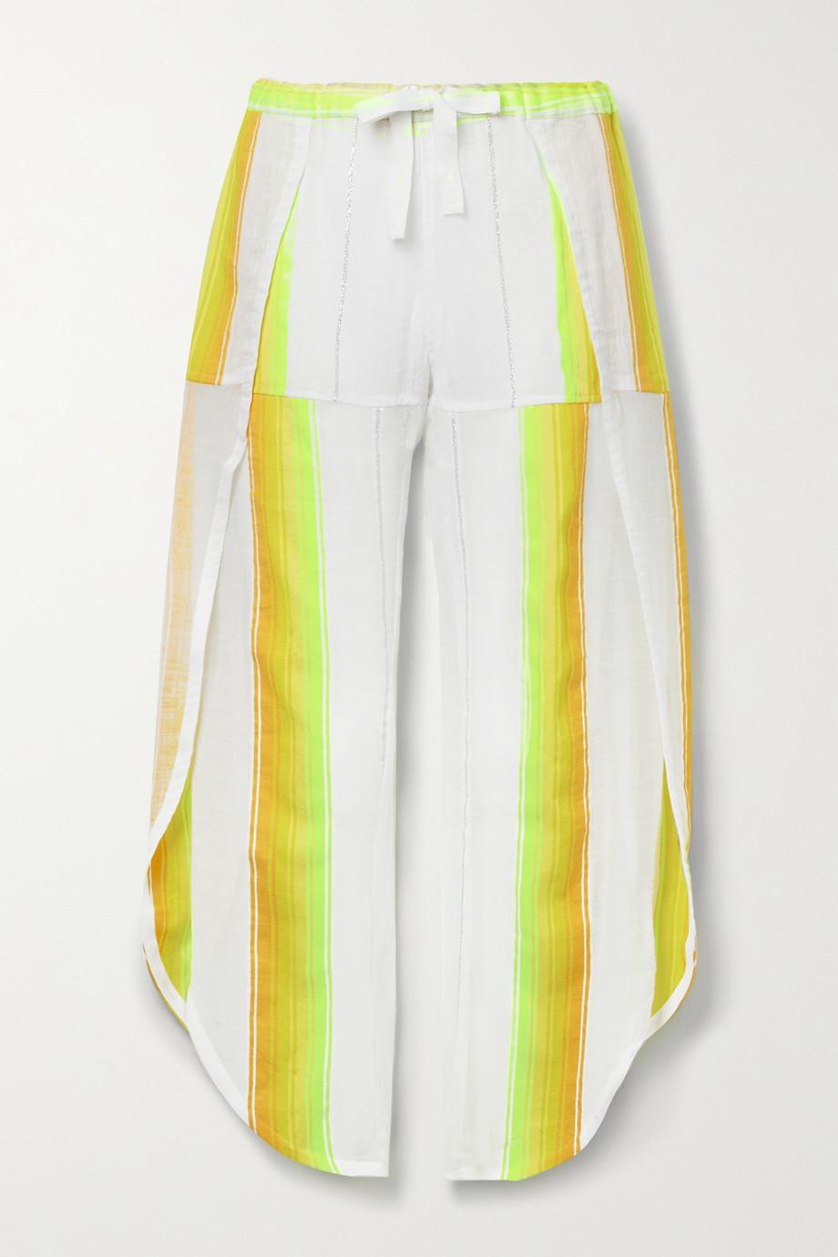 LemLem Mazaa metallic striped cotton-blend gauze wide-leg pants