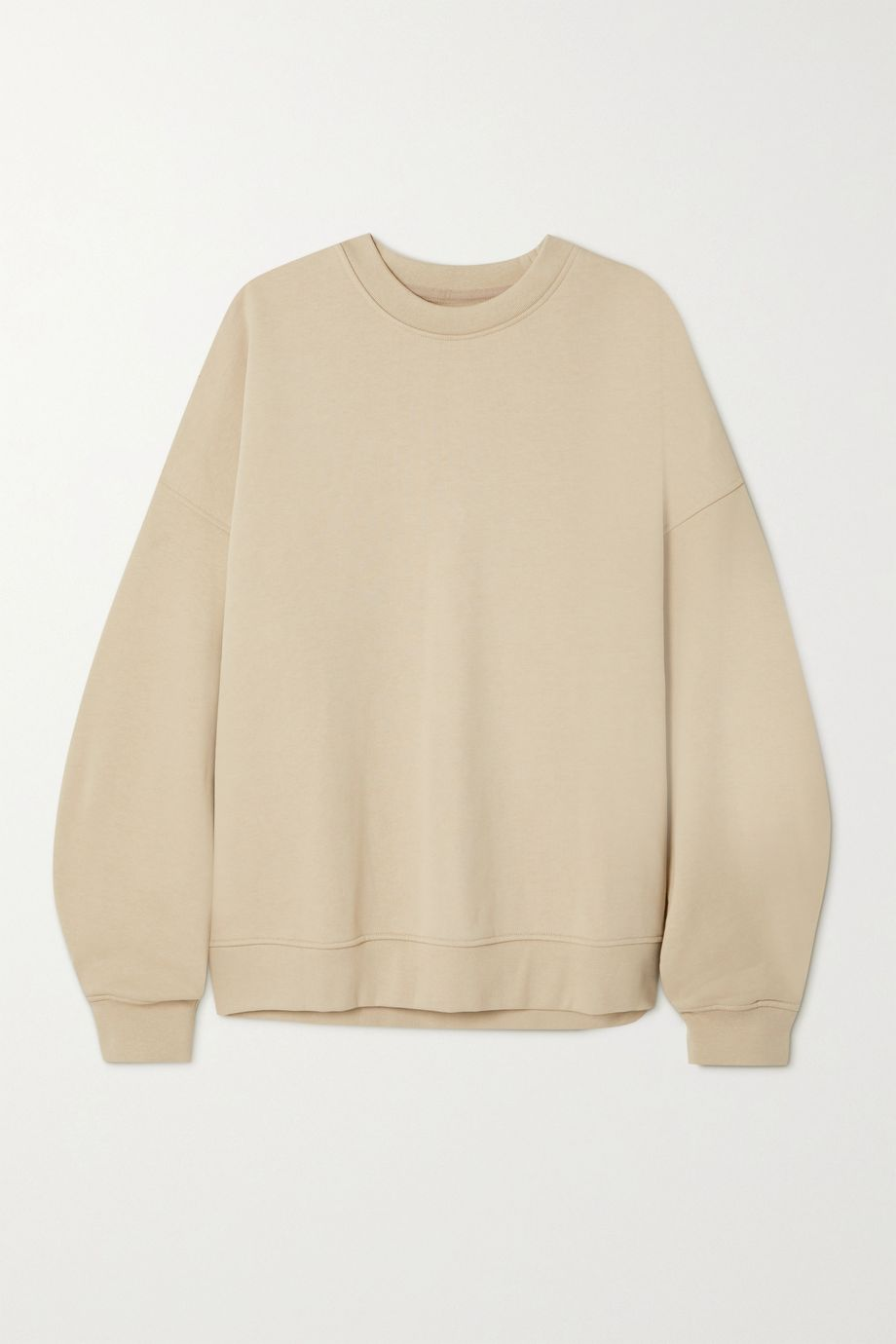 CAES + NET SUSTAIN pleated organic cotton-jersey sweatshirt