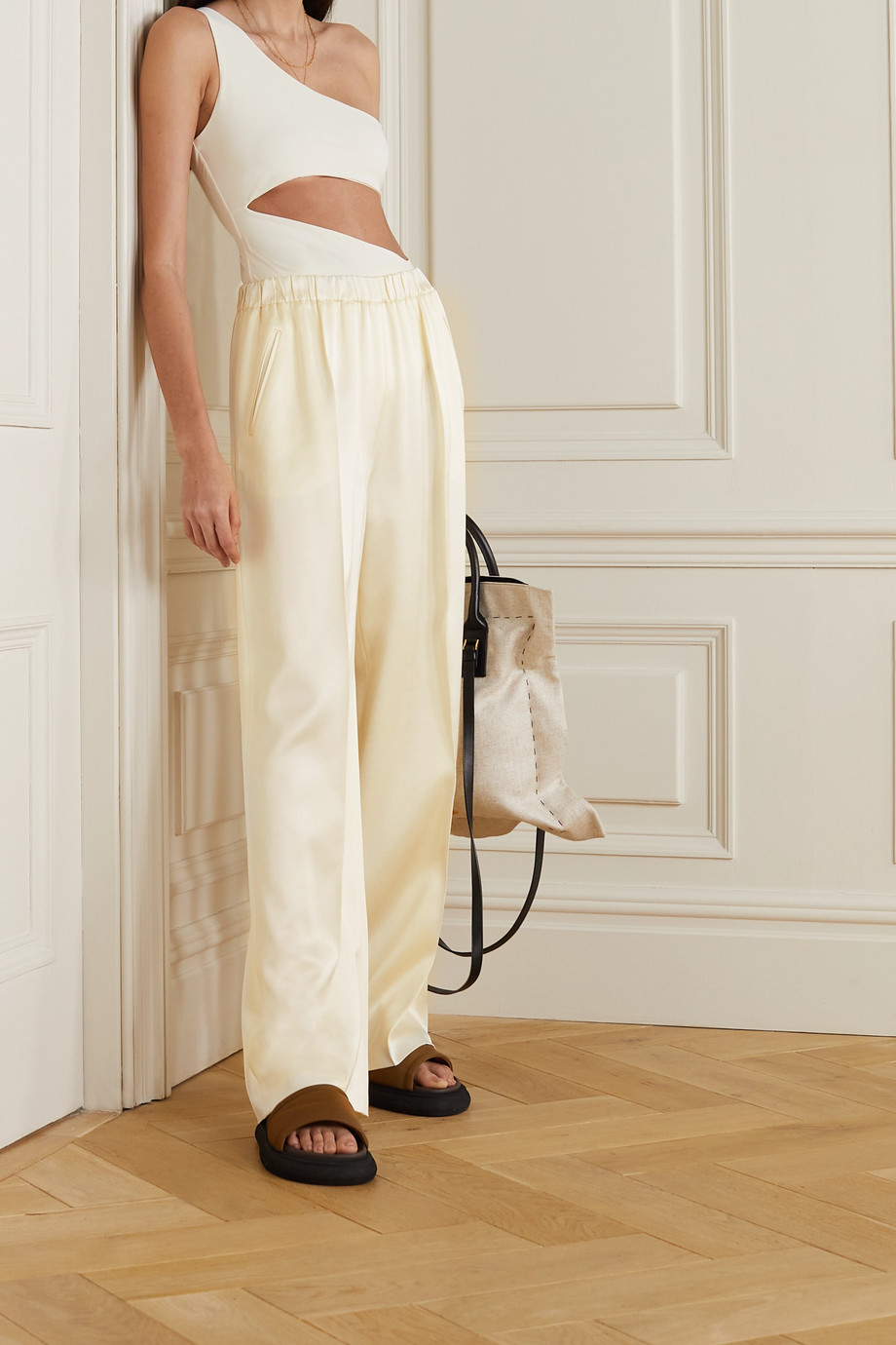 Magda Butrym Silk and wool-blend satin straight-leg pants