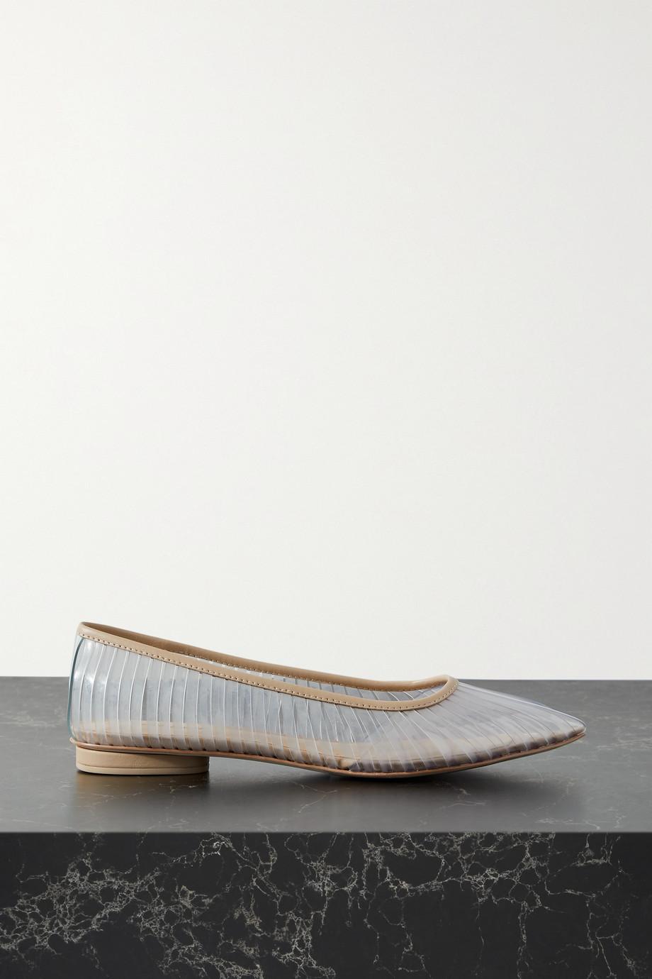 Cult Gaia Leena leather-trimmed PVC point-toe flats