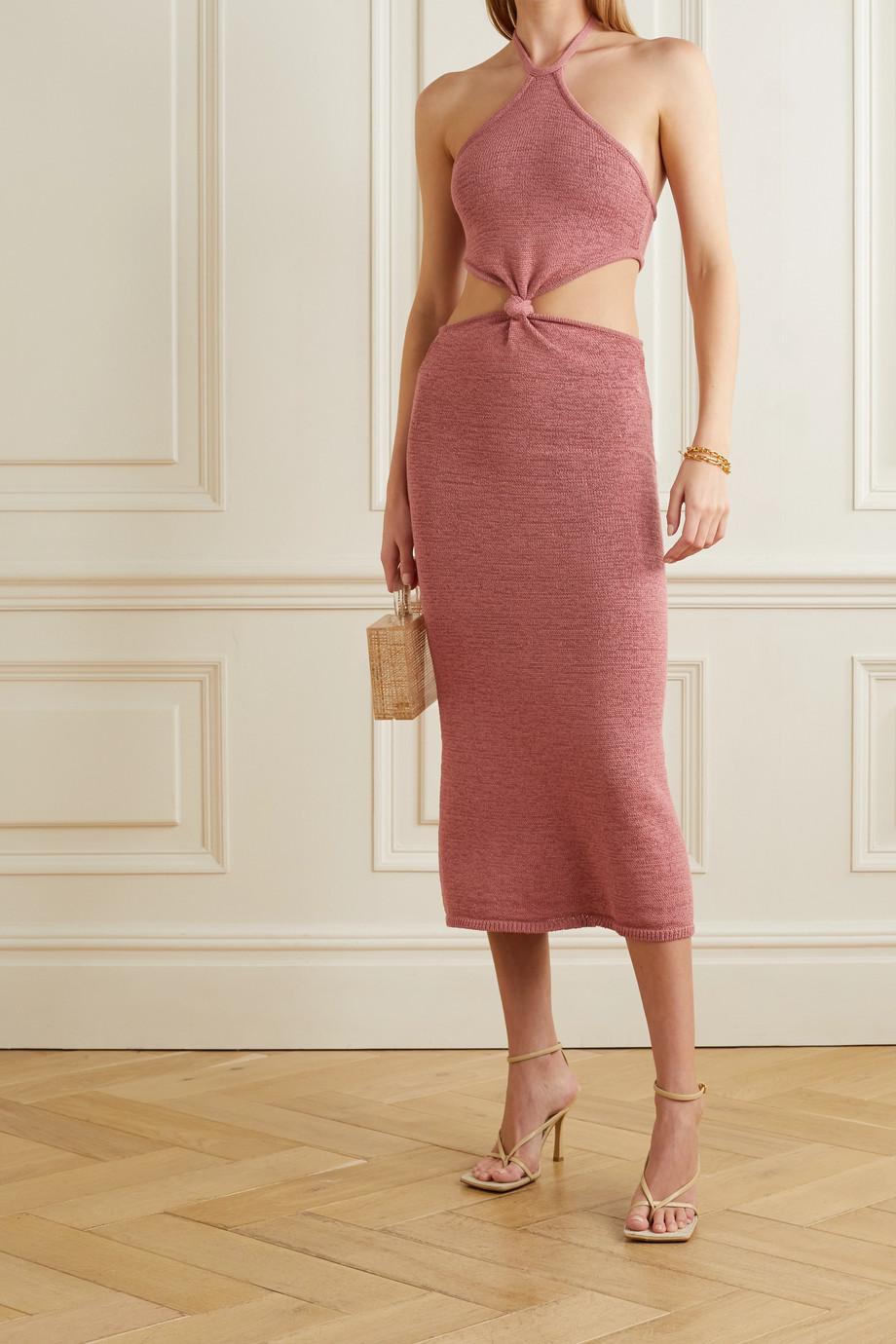 Cult Gaia Cameron twist-front cutout cotton-blend halterneck midi dress
