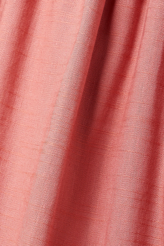 Cult Gaia Robe midi épaules nues en lin mélangé à fronces Stella