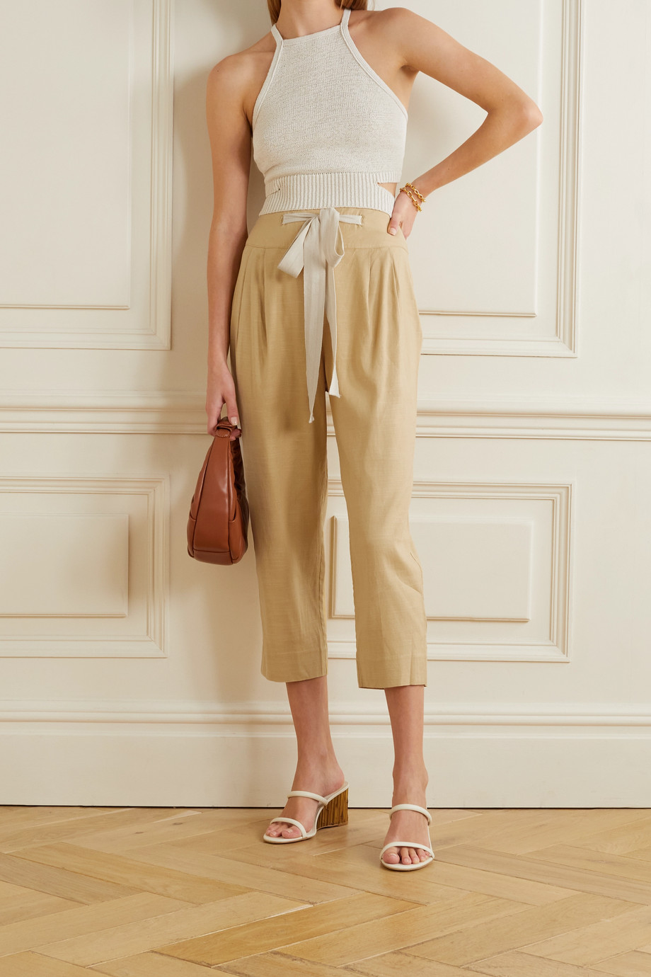 Cult Gaia Judith cropped linen-blend tapered pants