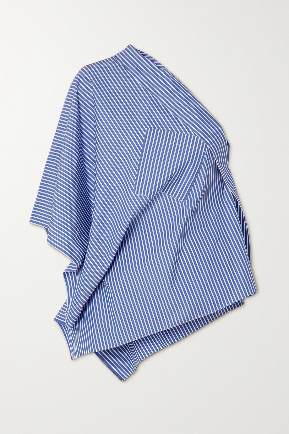 Roland Mouret Powell one-shoulder draped striped cotton-poplin top