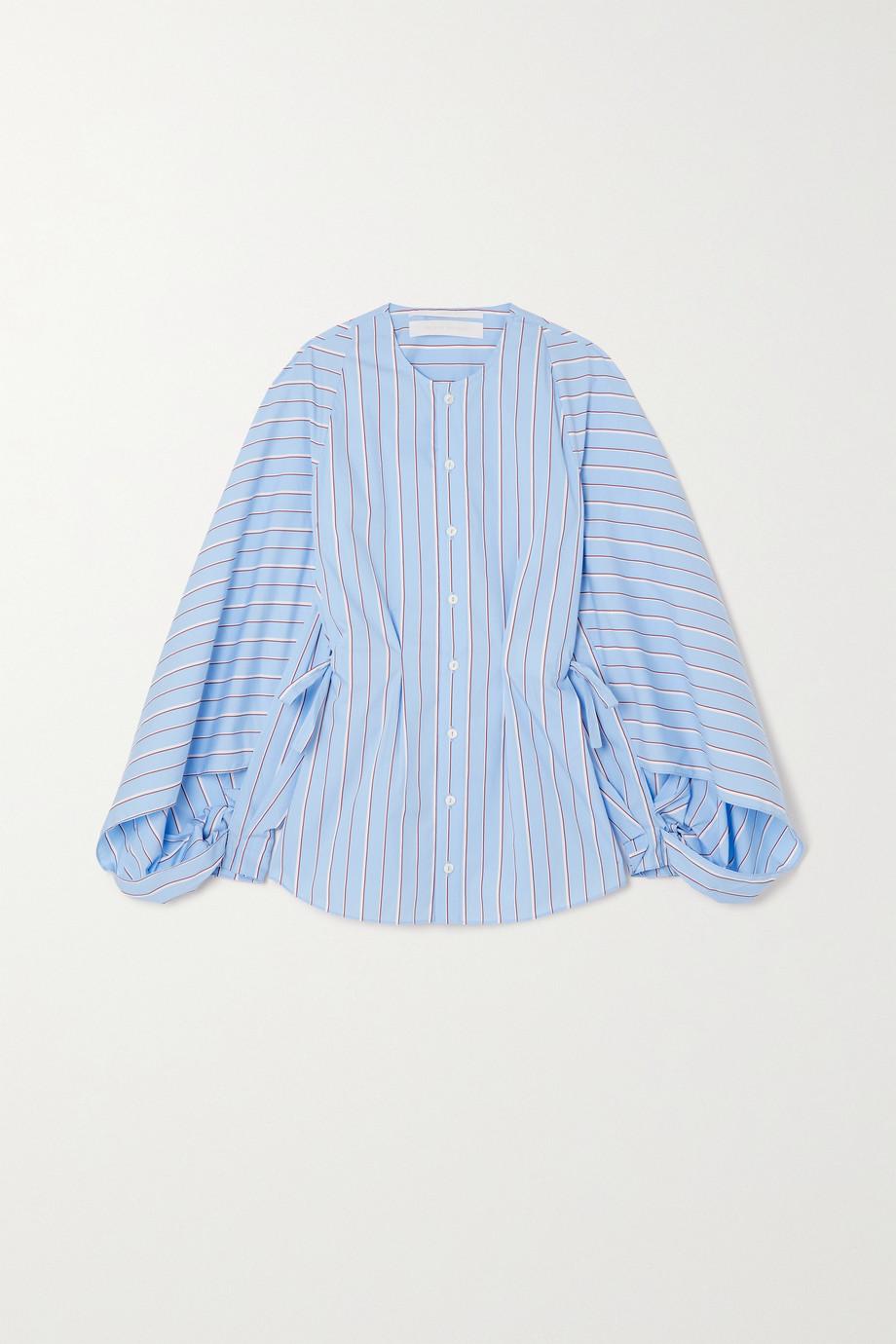 Roland Mouret Golding striped cotton-blend poplin blouse