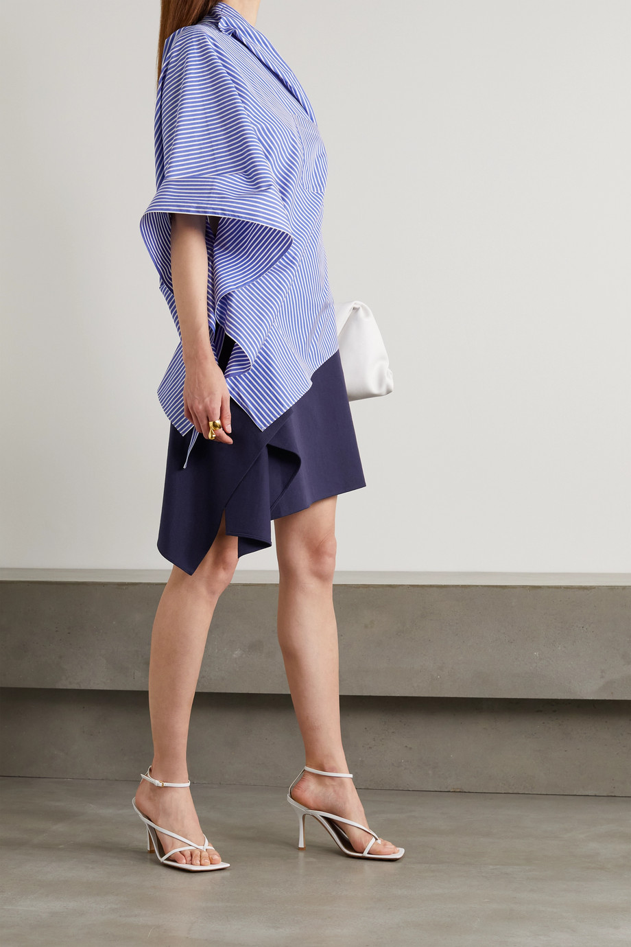 Roland Mouret Beyer asymmetric embellished cotton-blend twill mini skirt