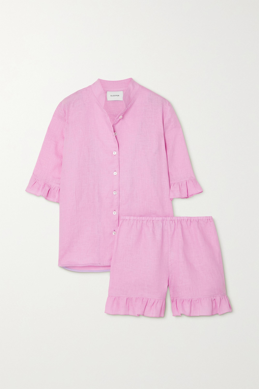 Sleeper Ruffled linen shirt and shorts set