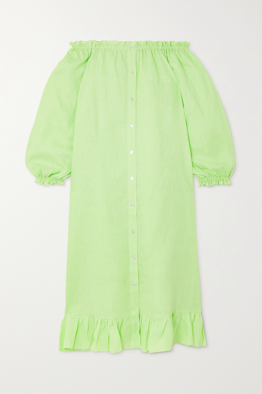 Sleeper Off-the-shoulder ruffled linen midi dress