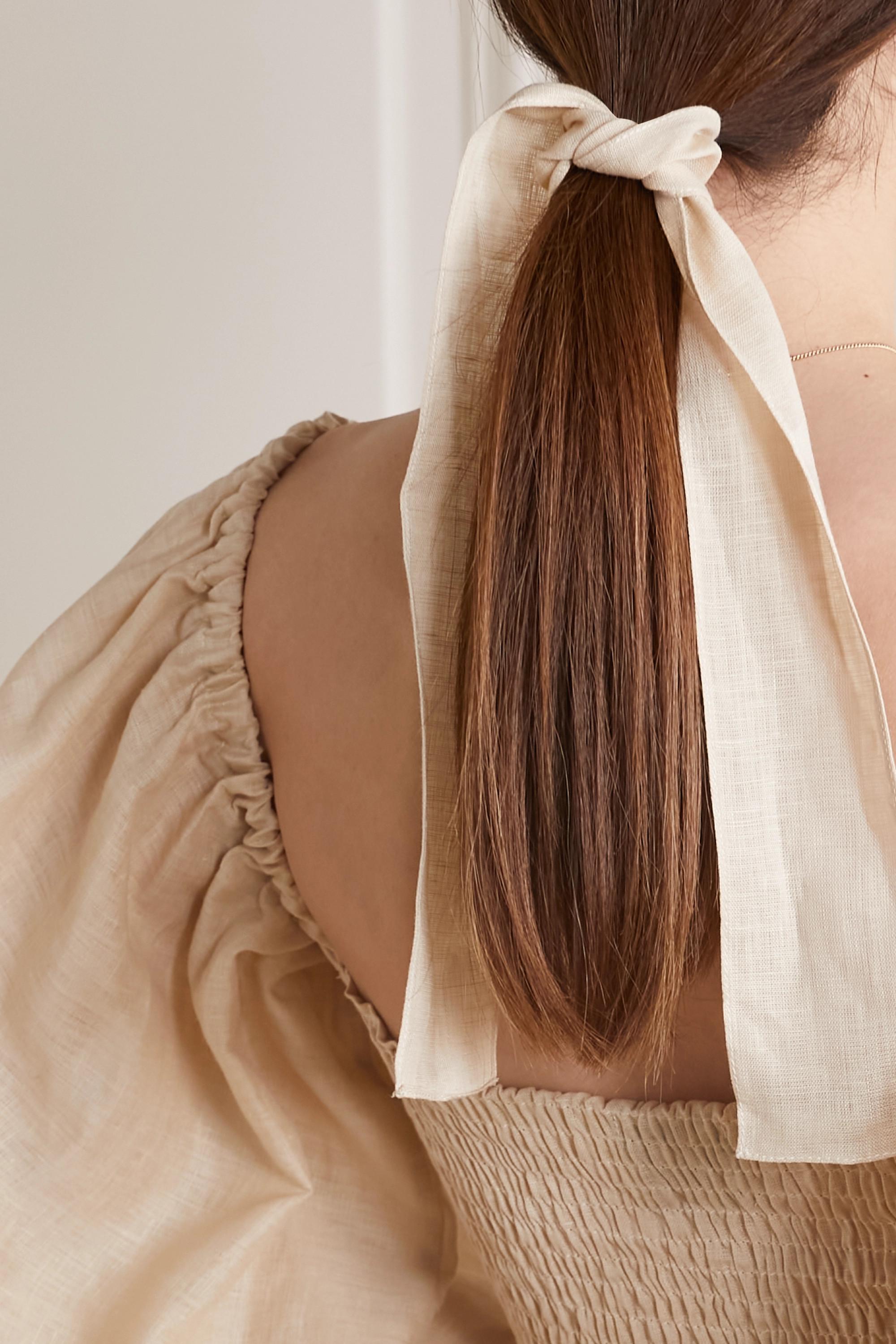 Sleeper Robe midi épaules nues en lin à smocks Atlanta